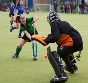 Junior goalkeeper in action versus Bicester